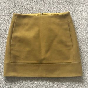 J.Crew mustard yellow/gold wool skirt. Size 0